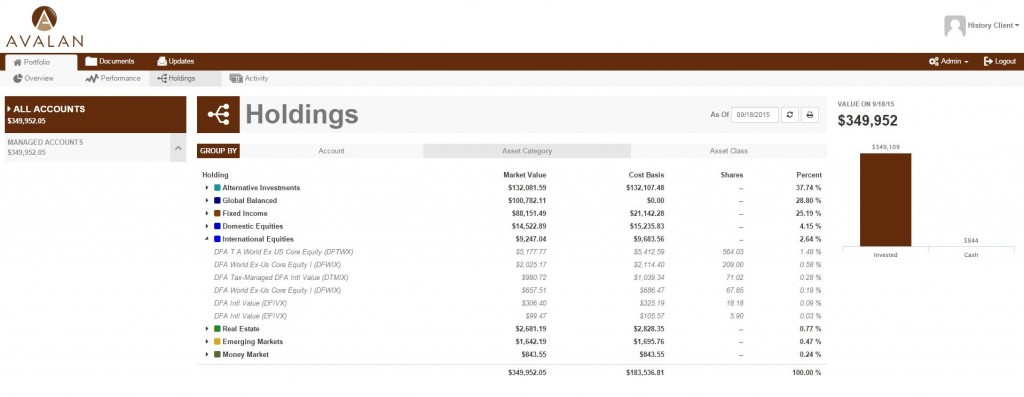 client portal screenshot